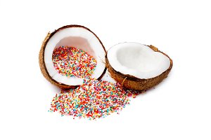 coconut with rainbow sprinkles