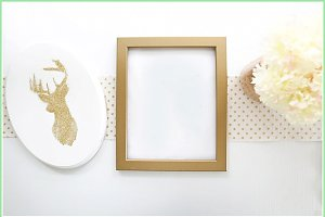 Gold frame and glitter mock up
