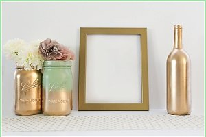 Gold on gold frame and jars mock up