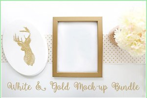 White & Gold Mock Up Bundle