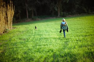 happy  Walk with a dog on the field