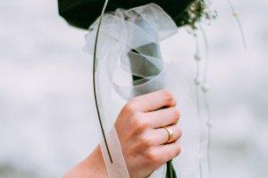 wedding bouquet on the seaside