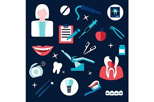 Health and dental themed flat icons