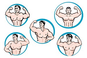Cartoon bodybuilders show a muscles