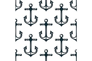 Old marine anchors seamless pattern