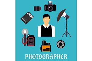 Photographer  profession icons