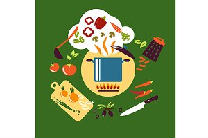 Cooking vegetarian food flat design
