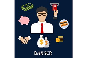 Banker and financial flat icons