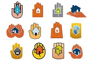 Abstract icons of houses in hands