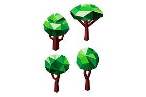 Polygonal green tree icons