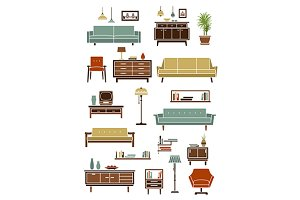 Furniture and interior flat icons