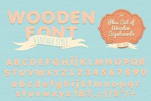 Vintage wooden alphabet. Flat style