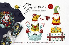 Gnome clipart set. Kids graphics.