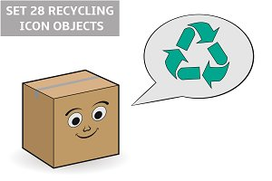 Set 28 recycling icon objects