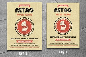 Retro Music Party Flyer-V189