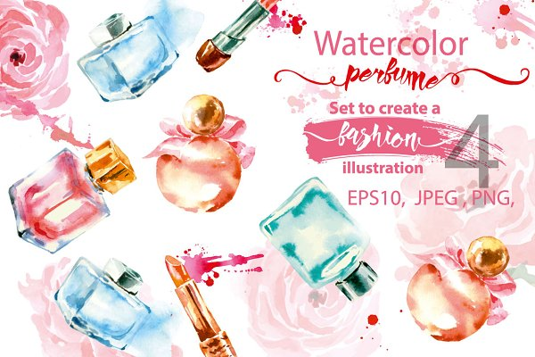 Watercolor  collection of perfume