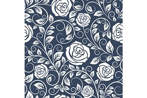 Seamless pattern of white roses