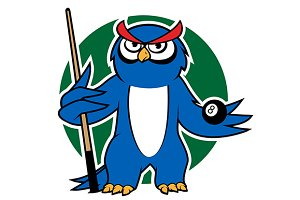 Blue owl with pool cue and ball