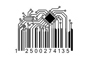 Bar code with computer chip