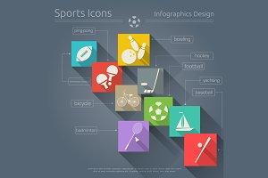 Flat Sports Icons Set