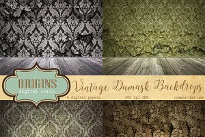 Vintage Damask Photo Backdrops