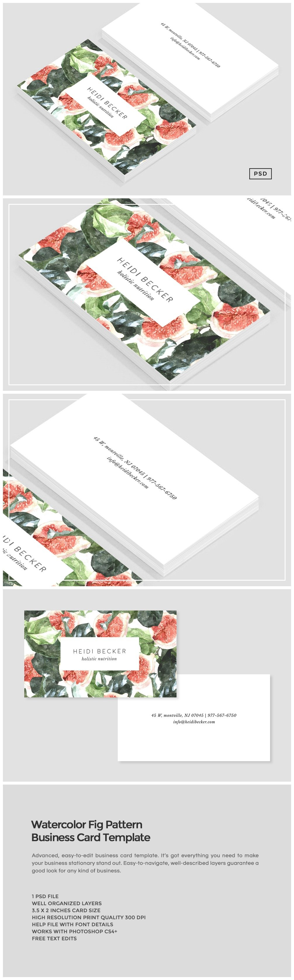 Watercolor fig pattern business card business card templates watercolor fig pattern business card business card templates creative market reheart Gallery