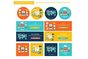 Set of Network Concept Flat Design