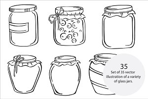 Glass jars, vector