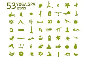 Set spa, massage and yoga icons