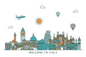Italy line skyline. Three versions