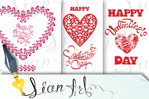 Happy Valentine`s Day, 3 cards