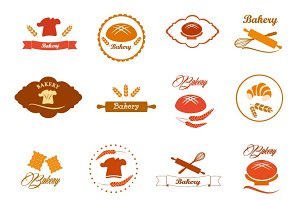 Bakery logo badges and labels set