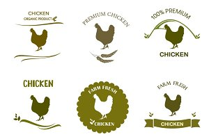 Chicken label, logo, badges  set