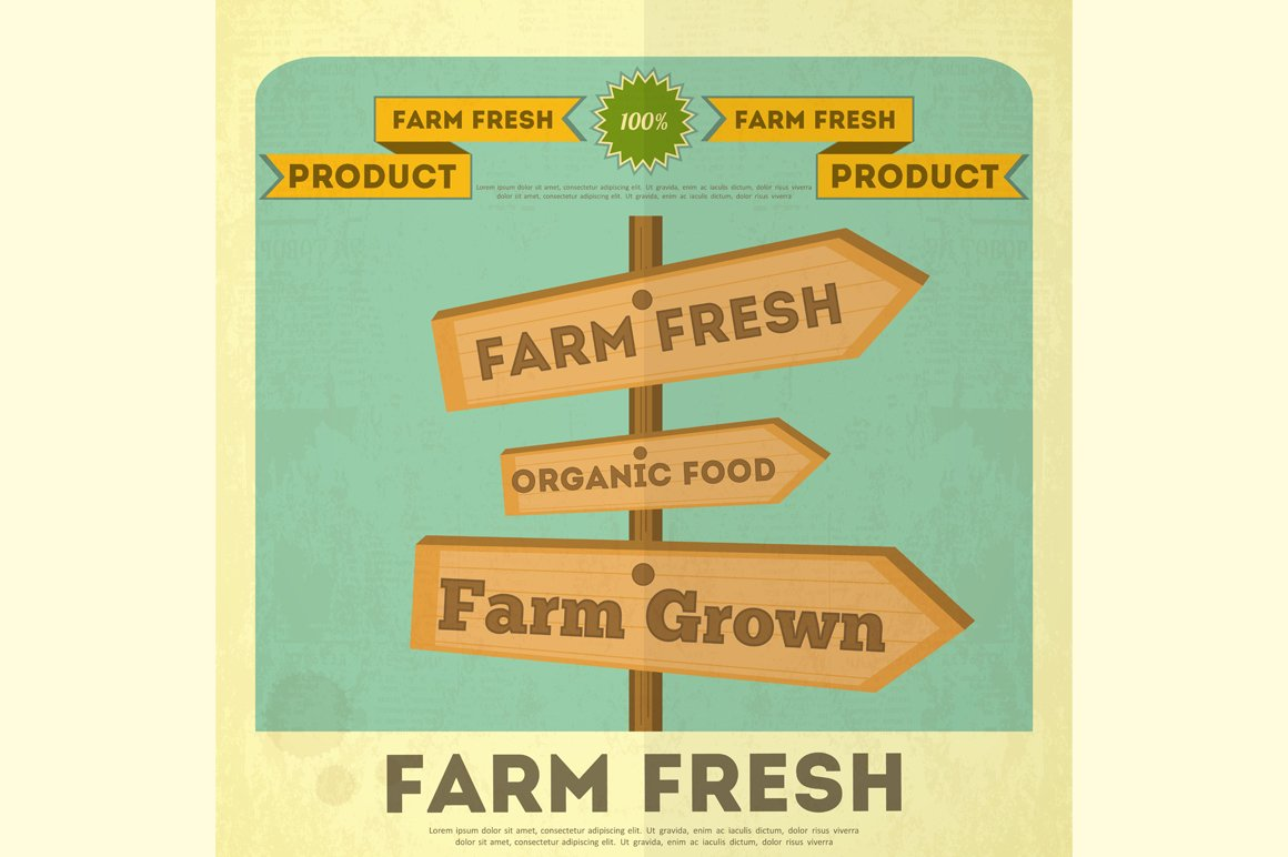 Poster for Organic Farm Food ~ Illustrations ~ Creative Market