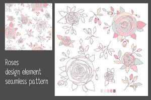 Roses, elements, seamless pattern.