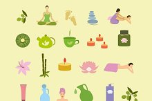 Colorful spa icons vector set