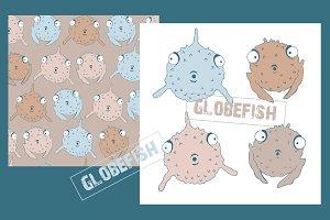 Globefish: poster + seamless pattern