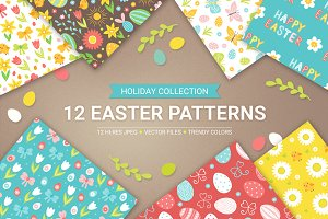 12 Easter Seamless Patterns