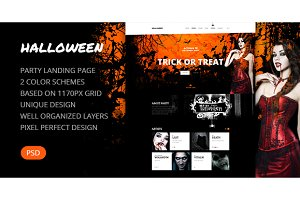 Halloween — Party Landing Page PSD