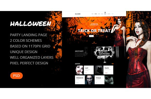 Halloween party landing page psd website templates creative market halloween party landing page psd websites maxwellsz