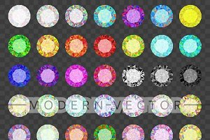 Set colored gems. Rhinestone