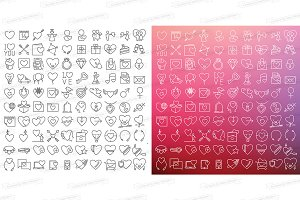 Love and Valentine's icons set 100