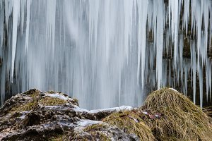 Frozen waterfall and icicles