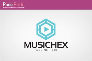 Music Hex Logo Template