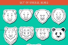 Set 9 muzzles stickers bears