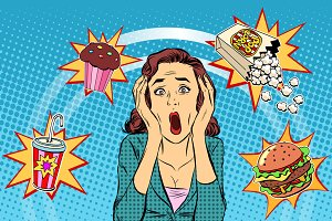 Fast food woman unhealthy diet panic