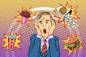 Fast food man unhealthy diet panic