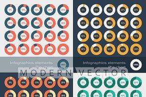 Set of round segmented pie charts