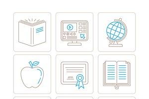Education iconset mono line style