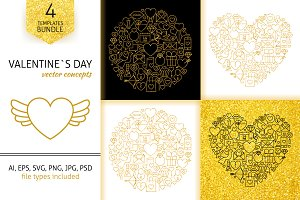 Valentine Day Gold Line Concepts